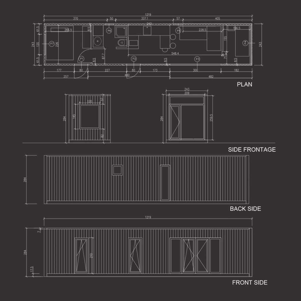 housepeak 40ft container house plan